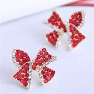 Red Rhinestone Bowknot Design Korean Fashion Women Alloy Stud Earrings