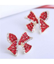 Red Rhinestone Bowknot Design Korean Fashion Women Alloy Stud Earrings