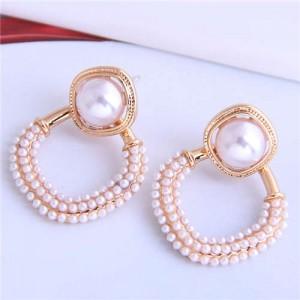Artificial Pearl Decorated Medium Hoop High Fashion Women Stud Earrings