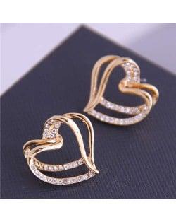 Rhinestone Inlaid Aesthetic Heart Design High Fashion Gold Plated Women Earrings