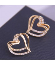 Rhinestone Inlaid Aesthetic Heart Design High Fashion Gold Plated Women Earrings