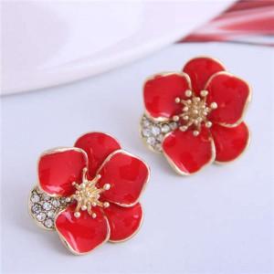 Rhinestone Inlaid Enamel Flower Korean Fashion Women Stud Earrings - Red