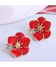 Rhinestone Inlaid Enamel Flower Korean Fashion Women Stud Earrings - Red