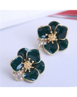 Rhinestone Inlaid Enamel Flower Korean Fashion Women Stud Earrings - Ink Green