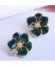 Rhinestone Inlaid Enamel Flower Korean Fashion Women Stud Earrings - Ink Green