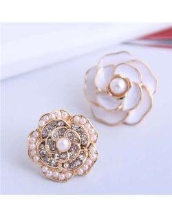 Pearl and Rhinestone Inlaid Flower Asymmetric Design Enamel Women Stud Earrings - White