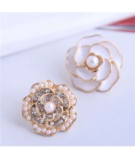 Pearl and Rhinestone Inlaid Flower Asymmetric Design Enamel Women Stud Earrings - White