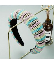 Blue and Pink Beads Baroque Style Vintage Women Hair Hoop/ Headband