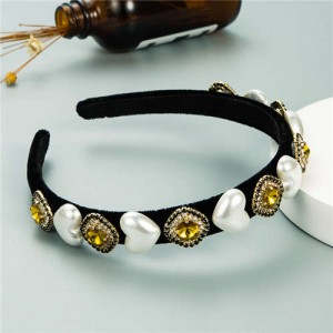Heart Pearl and Rhinestone Embellished Glistening Baroque Fashion Women Headband - Yellow