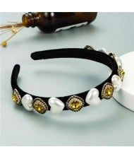 Heart Pearl and Rhinestone Embellished Glistening Baroque Fashion Women Headband - Yellow