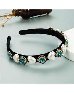 Heart Pearl and Rhinestone Embellished Glistening Baroque Fashion Women Headband - Blue