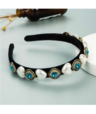 Heart Pearl and Rhinestone Embellished Glistening Baroque Fashion Women Headband - Blue
