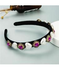 Heart Pearl and Rhinestone Embellished Glistening Baroque Fashion Women Headband - Rose