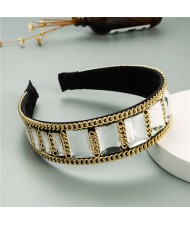 Square Glass Gem and Golden Chain Embellished Women Headband - White