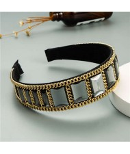Square Glass Gem and Golden Chain Embellished Women Headband - Gray
