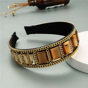 Square Glass Gem and Golden Chain Embellished Women Headband - Coffee