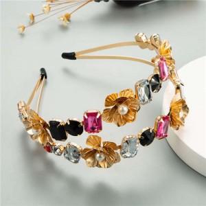 Golden Flowers and Assorted Gems Korean Fashion Women Hair Hoop