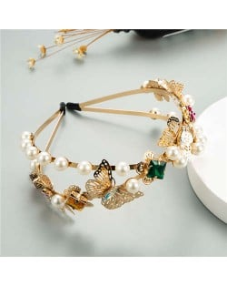 Hollow Butterfly and Pearls Embellished Korean Style High Fashion Women Hair Hoop