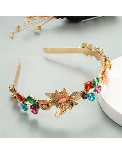Butterfly and Colorful Rhinestone Flowers Embellished Korean Fashion Golden Women Hair Hoop