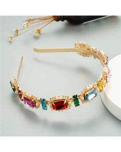 Oblong Colorful Gems Inlaid High Fashion Women Golden Headband