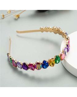 Multicolor Rhinestone Embellished Fair Lady Fashion Women Hair Hoop