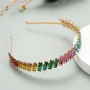 Glistening Colorful Bar Gems Embellished Korean Fashion Women Hair Hoop