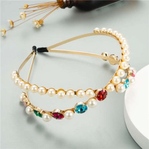 Pearl Embellished with Round Gems Dual-layer Design High Fashion Women Hair Hoop