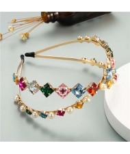 Pearl Embellished with Square Rhinestone Gems Dual-layer Design High Fashion Women Headband