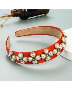 Pearl Flowers Embellished Baroque Design Vintage Fashion Hair Hoop - Red