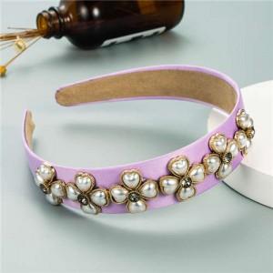 Pearl Flowers Embellished Baroque Design Vintage Fashion Hair Hoop - Purple