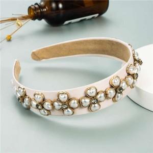 Pearl Flowers Embellished Baroque Design Vintage Fashion Hair Hoop - Pink