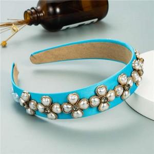 Pearl Flowers Embellished Baroque Design Vintage Fashion Hair Hoop - Blue