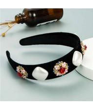 Rhinestone Flowers and Artificial Pearl Combo Vintage Fashion Wide Pattern Women Headband - Red