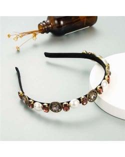 Vintage Baroque Style Pearl and Rhinestone Decorated Women Costume Hair Hoop - Coffee