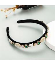 Starfish and Jewel Elements Design Vintage Fashion Women Hair Hoop/ Headband - Green
