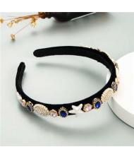 Starfish and Jewel Elements Design Vintage Fashion Women Hair Hoop/ Headband - Blue