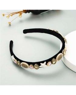Starfish and Jewel Elements Design Vintage Fashion Women Hair Hoop/ Headband - Coffee