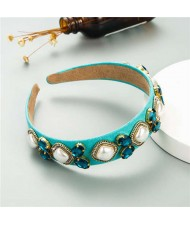 Rhinestone and Pearl Combo Royal Fashion Women Hair Hoop - Blue