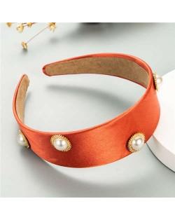 Pearl Embellished Wide Design Solid Color Cloth Women Headband - Orange