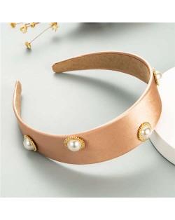 Pearl Embellished Wide Design Solid Color Cloth Women Headband - Pink