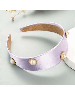 Pearl Embellished Wide Design Solid Color Cloth Women Headband - Purple