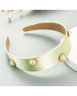 Pearl Embellished Wide Design Solid Color Cloth Women Headband - Green