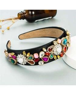 U.S. High Fashion Baroque Flowers Design Bejeweled Women Headband - Black