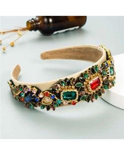 U.S. High Fashion Baroque Flowers Design Bejeweled Women Headband - Khaki