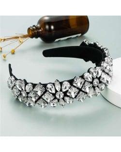 Super Shining Rhinestone Flower Baroque Bejeweled Women Hair Hoop/ Headband