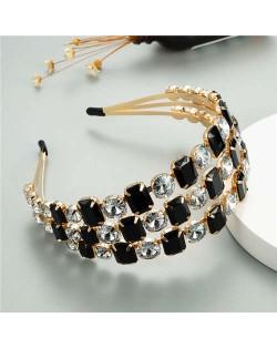 Super Shining Three Rows Rhinestone Women Bejeweled Hair Hoop/ Headband - Black