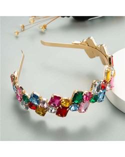 Colorful Square Rhinestone Baroque Design Women Bejeweled Costume Headband