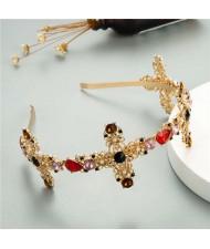 Vintage Hollow Cross Design Baroque Fashion Women Bejeweled Hair Hoop