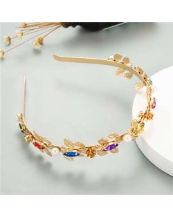Pearl Decorated Leaves Design Women High Fashion Golden Hair Hoop