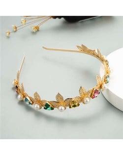 Vintage Fashion Triangular Rhinstone and Pearl Embellished Golden Leaves Women Hair Hoop